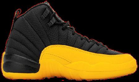 Fake Jordan 12 Retro Black University Gold