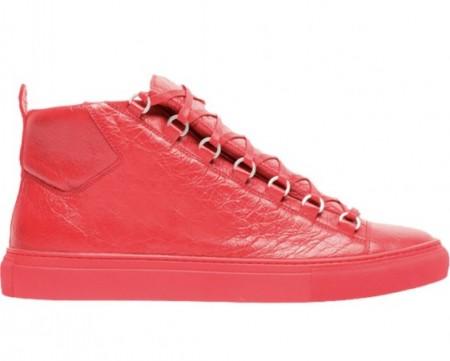 Balenciaga Arena Creased Red Leather Sneaker