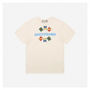 Gucci 20ss Flags Band White Short Sleeve